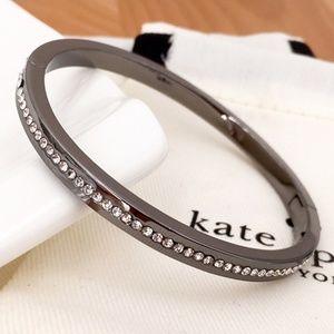 Kate Spade Pave Hinged Bangle Bracelet in Gunmetal